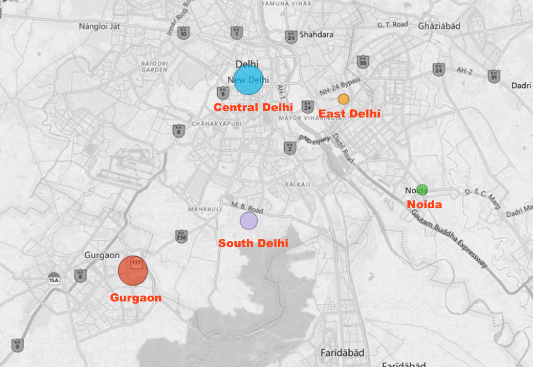 Price Heat Map Delhi Gurgaon Noida